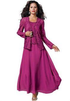 Lace and Chiffon Jacket Dress | Plus Size Evening Dresses | Roamans