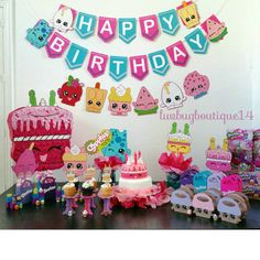 Shopkins Birthday Banner Shopkins Party Banner por LuvBugBoutique14