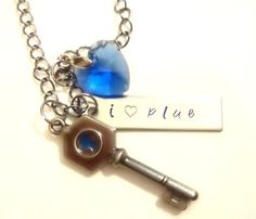I Heart Plue Necklace by AnimeCoutureJewelry on Etsy, $16.00