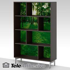 Estantería #Valje de #Ikea personalizada con #fotomural #teleadhesivo de bosque