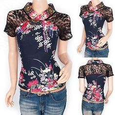 Fabulous Japanese Floral Prints Lace Short Sleeves Blouse Top