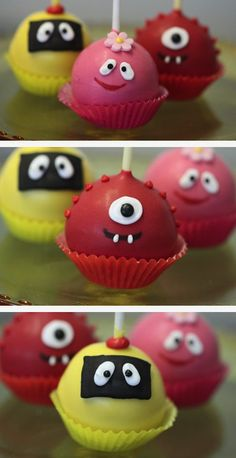 cake pop decorating | Cute little monster cake pops | Party Cupcake Ideas