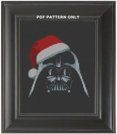 Pattern Funny Cross Stitch Darth Vader Christmas Ornament Black Aida Humorous Subversive DIY PDF Original