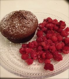 chocolate fondant with raspberries