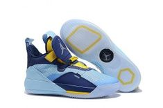 e5ce1df137d2 Air Jordan 33 XXXIII Future of Flight Light Blue Navy Blue Yellow Sneakers  Men s Basketball Shoes