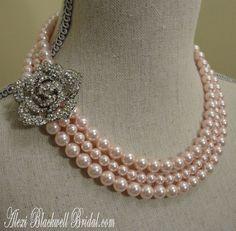 Bridal Rose Pink Brooch Necklace Set with 3 strands Swarovski Pearls by AlexiBlackwellBridal, $89.00