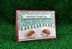 Lawn Fawn - Hedgehugs + coordinating dies, Forest Border, Stitched Rectangle Stackables, Snow Day paper, Peppermint Lawn Trimmings _ card by Kelly Marie