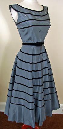 1950s Slate Blue with Black Velvet Trim Taffeta Vintage Party Dress by Ellen Joan
