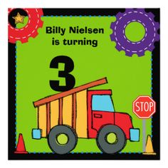 You can easily customize our Construction Vehicles birthday party invitations with your name and birthday party information before ordering. These cute and colorful construction theme birthday invites are perfect for children who love big trucks, end loaders, bulldozers, and who are having a construction theme party! #truck #construction #birthday #construction #theme #party #parties #customized #personalized #kids #bulldozer #invitations #custom #children #cute #big #trucks #end #loader ...