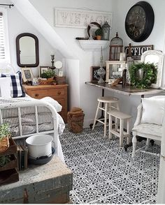 A DIY stenciled bedroom floor using the Augusta Tile Stencil from Cutting Edge Stencils. http://www.cuttingedgestencils.com/augusta-tile-stencil-design-patchwork-tiles-stencils.html