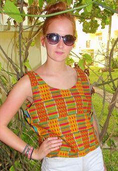 VINTAGE STYLE AFRICAN PRINT CROP TOP