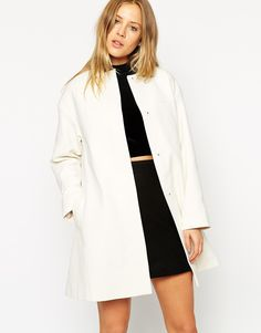 White autumn jacket women ASOS Coat In Trapeze With Dipped Hem
