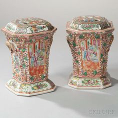 Pair of Rose Medallion Porcelain Bough Pots and Covers. | Lot 13 | Auction 2959M | Sold for $431
