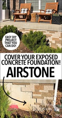 We finally fixed that pesky exposed concrete foundation on the front of our home with the help of @airstoneveneer! Love how it turned out and it only took us 2.5 hours to complete from start to finish!! #ad #airstone
