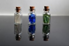 3 Sea glass filled vial bottles  1ml sgV5 by rubycquins on Etsy