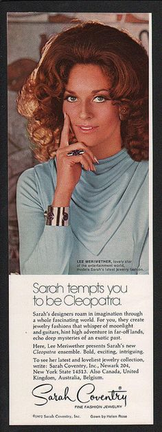 1972 SARAH COVENTRY Fine Fashion Jewelry - Actress LEE MERIWETHER VINTAGE AD