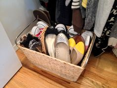 Basket Shoe organization for your closet. Great idea for shoes you don't have boxes for
