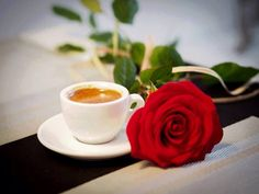Love the smell of coffee and roses. Coffee Latte Art, Coffee Cups, Tea Cups, Good Morning Coffee, Coffee Time, Coffee Corner, Coffee Flower, Food Signs, Diner Recipes