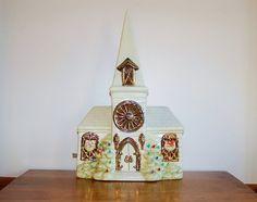 Vintage Lighted Ceramic Church, Mid Century Atlantic Mold Christmas Church Chapel, Stained Glass Windows, Music Box, Sleep in Heavenly Peace