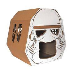 Handmade Star Wars Stormtrooper Cardboard Cat House #cardboardcathouse