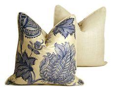 Blue Vintage Floral Pillow