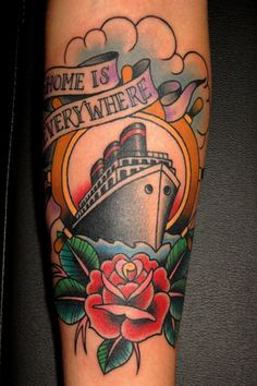 home is everywhere traditional ship wheel & rose tattoo