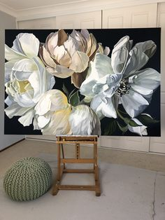 'SEMPRE II' by Jenny Fusca - Elea - Hobbies paining body for kids and adult Peony Painting, Artist Painting, Watercolor Paintings, Original Paintings, Botanical Art, Painting Inspiration, Flower Art, Amazing Art, Landscape Paintings