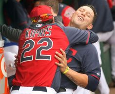 Cleveland Indians Asdrubal Cabrera gets a hug from Jason Kipnis before the game against Chicago Cubs at Goodyear Ballpark in Goodyear, Ariz., on March 6, 2014. (Chuck Crow/The Plain Dealer)