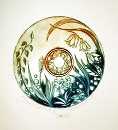 Cold needle etching on a CD. Print on #Hahnemühle Etching paper.