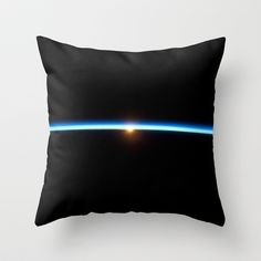 """Thin Blue Line"" Planet Earth Throw Pillow by Planet Prints - $20.00"