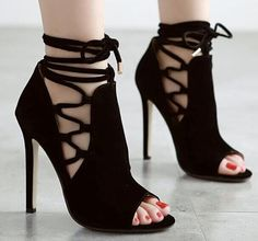ca12b623a9b6 Size 4~9 Cool Black High Heels Women Pumps Lace Up Women Shoes zapatos mujer