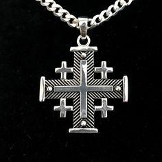 1d4b7936bbe Sterling Silver Potent Jerusalem Cross Necklace (L)