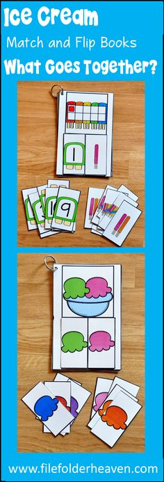 These Ice Cream Match and Flip Books (What Goes Together Edition) focus on basic matching skills, and matching by component parts skills. In these activities, students work on matching halves to whole Early Learning Activities, Fun Activities For Kids, Preschool Learning, Preschool Activities, File Folder Activities, File Folder Games, File Folders, School Themes, Classroom Themes