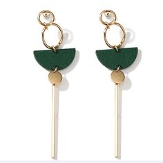 2017 New Accessories Fashion Temperament Earrings Green Wood Fan Long Tassel Brincos For Women Pendientes