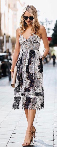 #summer #outfits Monochrome Crochet Dress + Nude Sandals ❥