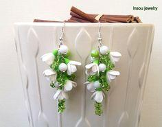 Flower Earrings, Flower Jewelry, White Flowers, Snowdrops, Wedding Earrings, Dangle Earrings, Handmade Earrings, Spring Jewelry
