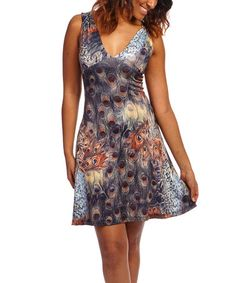 Another great find on #zulily! Brown Peacock V-Neck Dress - Women #zulilyfinds   Ladies' Night Out