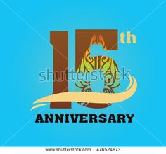anniversary logo with javanese shadow puppet pattern 15th