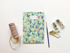Green Blossom Notebook A5 Notebook, Lined Notebook, Lined Page, Spring Blooms, Belly Bands, Card Stock, Envelope, Greeting Cards, Notebooks