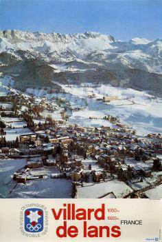 Grenoble Xè Jeux Olympiques d'Hiver 1968 - Villard de Lans 1050-1920 m. Affiche officielle de la Xème Olympiade - Vue aérienne de Villard de Lans qui accueille les épreuves de luge