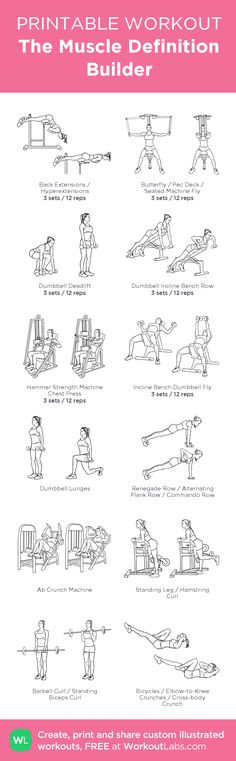 The Muscle Definition Builder · WorkoutLabs Fit Wod Workout, Workout Challenge, Workout Ideas, Full Body Workout Routine, Gym Routine, Fit Board Workouts, At Home Workouts, Ab Crunch Machine, Workout Stations