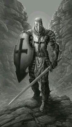 m Paladin Plate Armor Helm Shield Sword rough mountain canyon Guerreiro Fantasy Armor, Dark Fantasy, Templar Knight Tattoo, Crusader Knight, Christian Warrior, Warrior Tattoos, Armadura Medieval, Angel Warrior, Templer