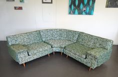 "Weren't these sofas call a ""Davenport"" or was that a brand name?  Mid Century Vintage Retro Tapestry Sectional Couch and Two Arm Chairs"