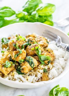 This Coconut Basil Chicken Curry is an incredibly fragrant coconut milk based curry and ready in just 30 minutes. Perfect for a busy weeknight. Chicken Curry Coconut Milk, Thai Basil Chicken, Curry Stew, Cooking Recipes, Healthy Recipes, Fodmap Recipes, Free Recipes, Healthy Food, Healthy Eating