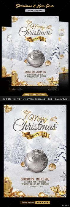 Buy Christmas - New Year Flyer Template by Hyov on GraphicRiver. Promote your Products and services related to Christmas sale with this great looking flyer. 300 DPI High resolution d. Christmas Design, Christmas Art, Christmas And New Year, Christmas Deals, Christmas Brochure, Christmas Flyer Template, Web Design, Brand Design, Christmas Poster