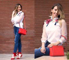 Manuella Lupascu - Sheinside Shirt, Sheinside Jeans, Michael Kors Bag, Lovely Shoes Heels - Red Code