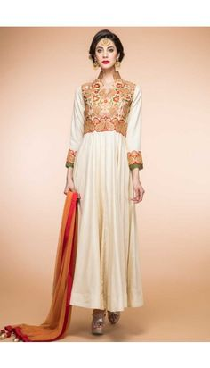 Cream Silk Anarkali churidar Suit With Dupatta - 1798
