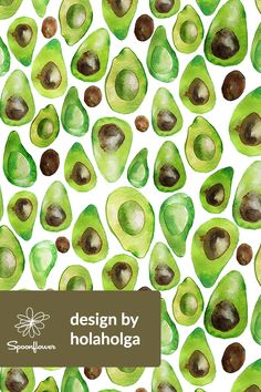 Avocado Design by holaholga - Hand painted avocados on a white background on fabric, wallpaper, and gift wrap. Watercolor fruit painted by designer holaholga. Perfect for kitchen towels, napkins, and table cloths. #designs #fabric #homedecor #avocado #watercolor #paint #green #fruit