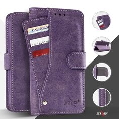 LG Stylo 3 Case, Zizo Slide Out Wallet Pouch - Thin Lightweight Wallet Case w/ Credit Card ID Holder - Heavy Duty Protection - LG Stylo 3 Plus Case, Purple Iphone Wallet Case, Iphone 7 Plus Cases, Card Storage, Pocket Wallet, A30, Id Holder, Samsung Galaxy Note 8, Galaxy Phone, Galaxies