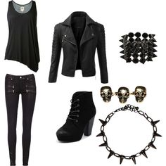 """Casual outfit for a daughter of Hades"" by amanda-ghostqueen on Polyvore"